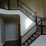 After: Stair railings stained