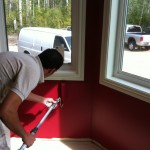 Winter Ridge: Sam painting the media room