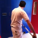 Winter Ridge: Sam painting the family media room