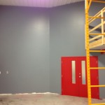 Red doors and grey walls for Interior Shop